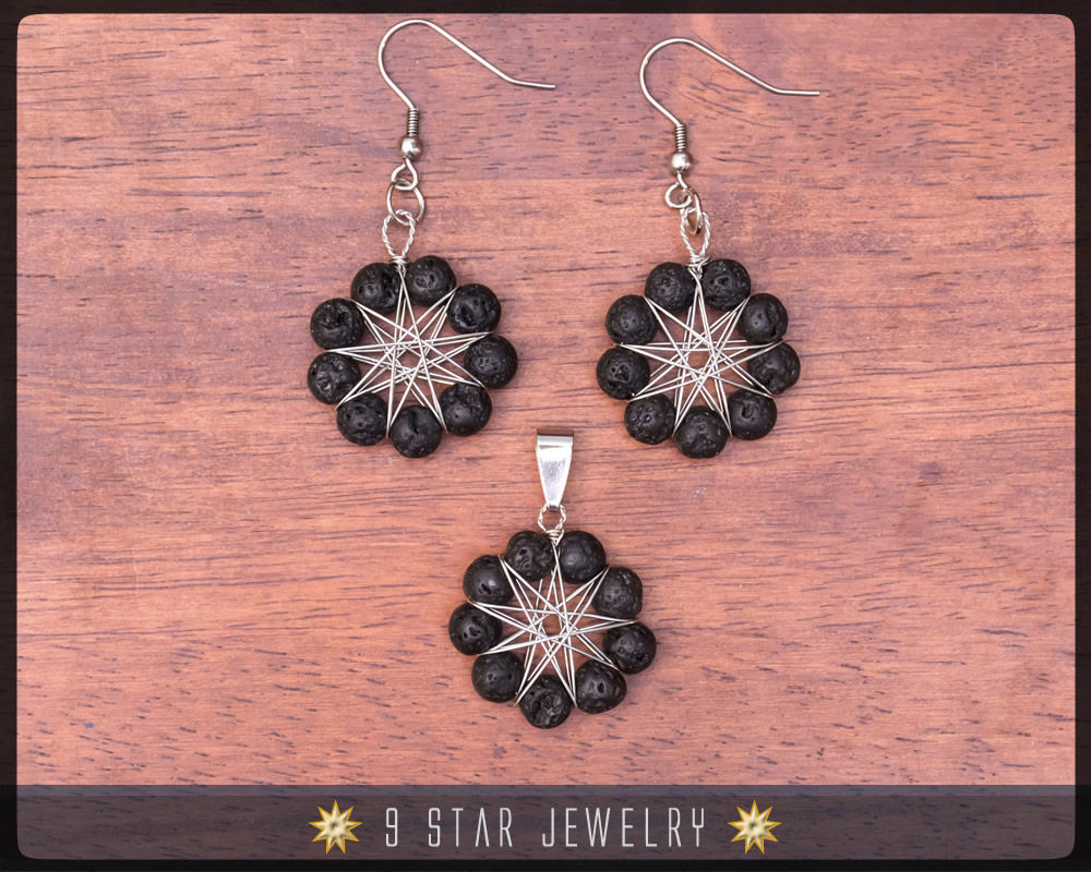 Volcanic Lava Radiant Star - Baha'i 9 Star wire-wrapped Jewelry Set - BRSE34
