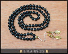 "Load image into Gallery viewer, Matte Black Hand Knotted Baha'i Prayer Beads - Full 95 (Alláh-u-Abhá) ""Asmita""- BPB66"