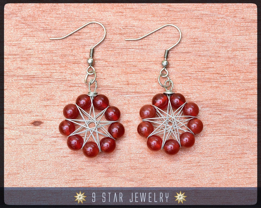 Natural Red Carnelian Radiant Star Earrings - Baha'i 9 Star Wire-wrapped - BRSE28