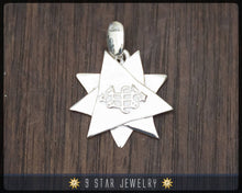 Load image into Gallery viewer, BPS22 - 925 Sterling Silver 9 Star Baha'i Pendant /w Ring Stone Symbol
