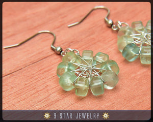 Natural Green Fluorite Radiant Star Earrings - Baha'i 9 Star Wire-wrapped - BRSE26