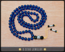 "Load image into Gallery viewer, Matte Blue Hand Knotted Baha'i Prayer Beads - Full 95 (Alláh-u-Abhá) ""Indivar""- BPB65"