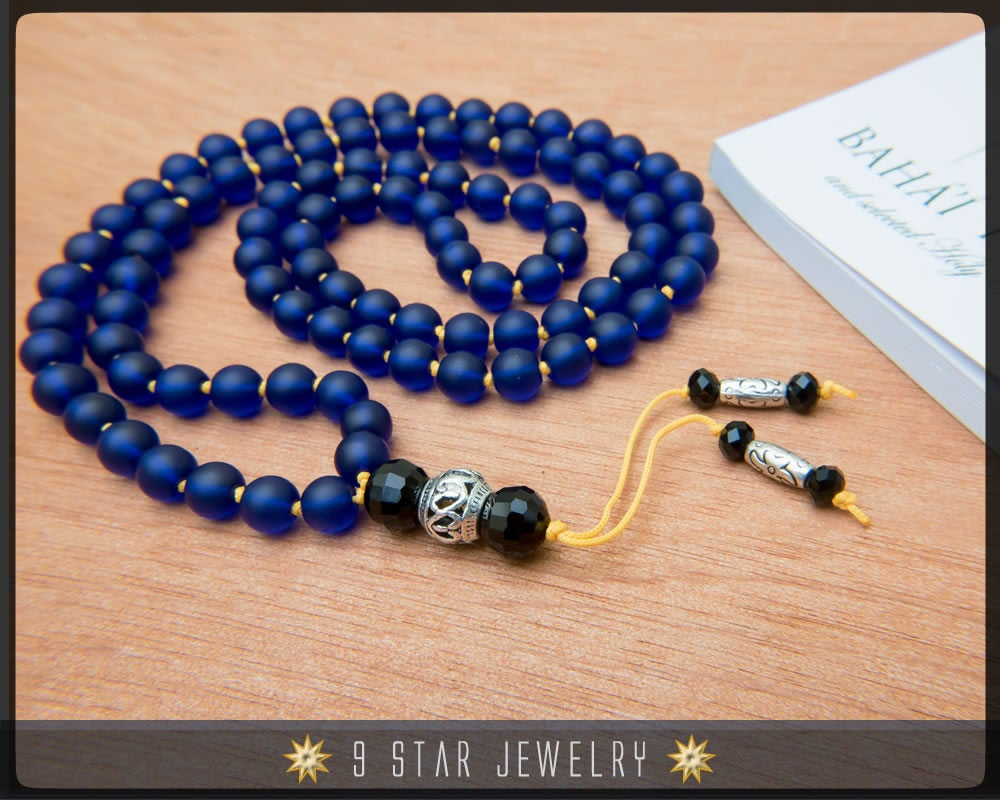 Matte Blue Hand Knotted Baha'i Prayer Beads - Full 95 (Alláh-u-Abhá)