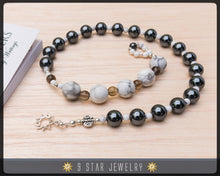 "Load image into Gallery viewer, Hematite & Howlite w/ 925 Sterling Silver bahai 9 Star - Baha'i Prayer Beads ""Courage"" - BPB11"
