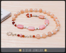 "Load image into Gallery viewer, Pink Opal & 925 Sterling silver 9 Star bahai - Baha'i Prayer Beads ""Loving Kindness"" - BPB12"