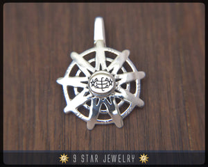 BPS28 - 925 Sterling Silver 9 Star Baha'i Unity Pendant with Ring Stone Symbol
