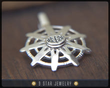 Load image into Gallery viewer, BPS28 - 925 Sterling Silver 9 Star Baha'i Unity Pendant with Ring Stone Symbol
