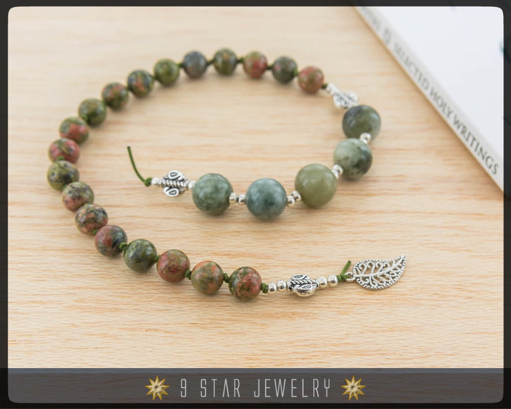 Unakite & Moss Agate Hand Knotted Baha'i Prayer Beads