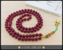 "Load image into Gallery viewer, Carnelian Red Hand Knotted Baha'i Prayer Beads - Full 95 (Alláh-u-Abhá) ""Legacy""- BPB54"