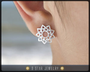 Sterling Silver 9 Star Stud Earrings - The Lotus - Unity of Religions - Baha'i - BES7