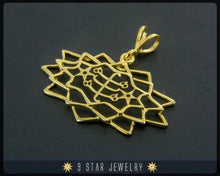 Load image into Gallery viewer, Gold Baha'i Ringstone symbol 9 Star Pendant - (electroplate) - BPGP26