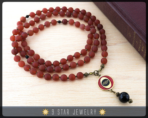 Matte Red Agate Baha'i Prayer Beads-with bahai ringstone symbol-95