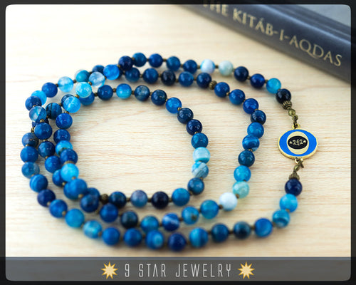 Blue Stripes Agate Baha'i Prayer Beads-Stone of Protection+Strength