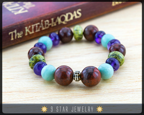 Amethyst, Bloodstone mixed 19 Unique Gemstones - Baha'i Prayer Beads Bracelet