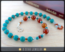 "Load image into Gallery viewer, Turquoise & Carnelian w/ Sterling Silver - Baha'i Prayer Beads 5x19  ""Devotion""- BPB8"