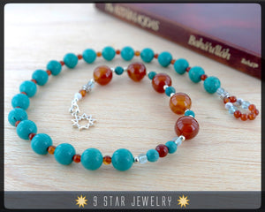"Turquoise & Carnelian w/ Sterling Silver - Baha'i Prayer Beads 5x19  ""Devotion""- BPB8"