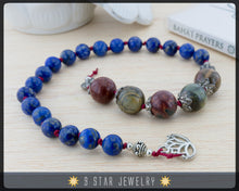 "Load image into Gallery viewer, Lapis Lazuli & Picasso Jasper Baha'i Prayer Beads 5x19 - Hand Knotted Padma"" - BPB52"