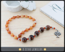 "Load image into Gallery viewer, Red Aventurine & Mahogany Obsidian Baha'i Prayer Beads 5x19 ""Clarity"" - BPB51"
