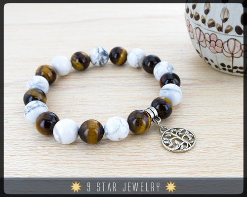 Tiger's Eye & Howlite Baha'i Prayer Beads Bracelet - 19 Calming Beads