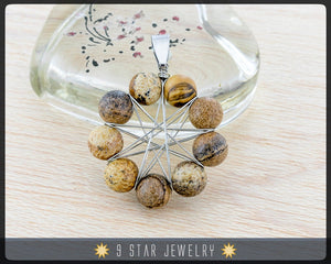 "Picture Jasper ""Radiant Star"" Baha'i 9 Star wire wrapped Pendant - BRSP1"