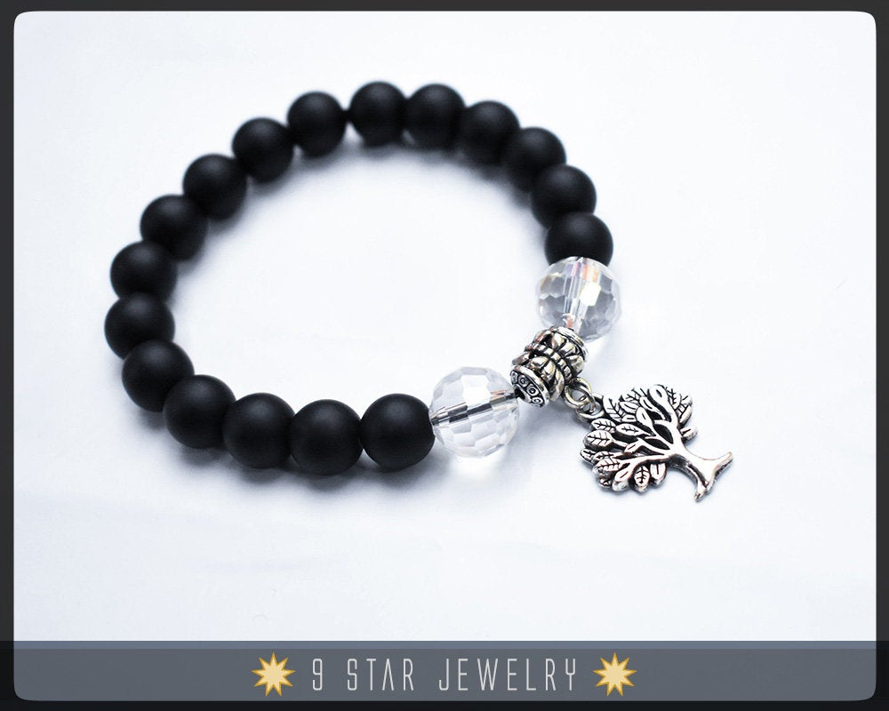 Calming Beads-Baha'i Prayer Beads Bracelet (Alláh-u-Abhá) - Matte Black glass beads with