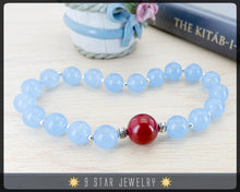 "Load image into Gallery viewer, Blue Jade & Red Coral Baha'i Prayer Beads - (Alláh-u-Abhá)  ""Valiant"" - BPB45"