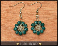 Load image into Gallery viewer, Radiant Star - Baha'i 9 Pointed Star Crystal Wire-wrapped Dangle Earrings -Pine Green- BRSE16