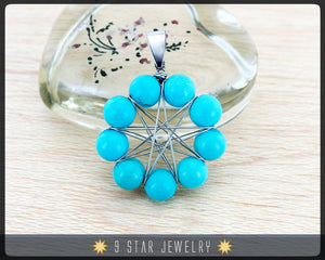 "Turquoise ""Radiant Star"" Baha'i 9 Star wire wrapped Pendant - BRSP6"