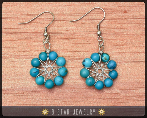 Natural Blue Turquoise Radiant Star Earrings - Baha'i 9 Star Wire-wrapped - BRSE29