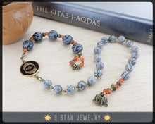 "Load image into Gallery viewer, Landscape Jasper & Snowflake Obsidian- Baha'i Prayer Beads 5x19  ""Justice""- BPB85"