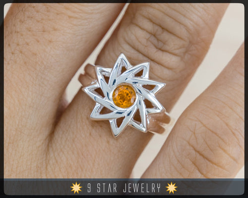 Citrine - Sterling Silver 9 Star Baha'i Ring with genuine gemstone - (Limited Edition) - BRS6C