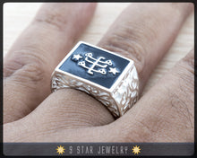 "Load image into Gallery viewer, The ""Ring of Declaration"" Statement Ring Sterling Silver with Baha'i Ringstone Symbol"