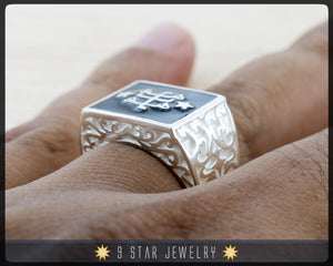 "The ""Ring of Declaration"" Statement Ring Sterling Silver with Baha'i Ringstone Symbol"