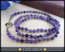 "Load image into Gallery viewer, Amethyst Baha'i Prayer Beads w/bahai ringstone symbol ""Forever Grateful"" BPB87b"