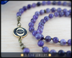 "Amethyst Baha'i Prayer Beads w/bahai ringstone symbol ""Forever Grateful"" BPB87b"
