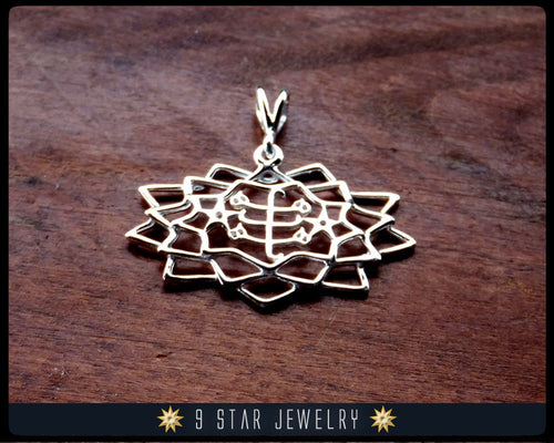 Sterling Silver 9 Star Baha'i Pendant w/ Ring Stone Symbol - BPS26
