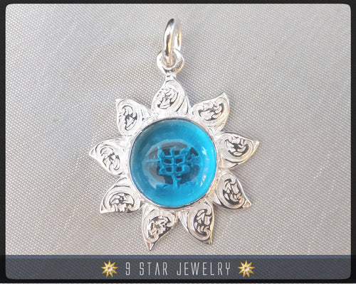 Sunflower - Sterling Silver 9 Star Bahai Pendant w/ simulated Blue Topaz - BPS12BT