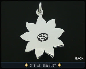 Sunflower - Sterling Silver 9 Star Bahai Pendant w/ simulated Amethyst (Color Changing Stone) - BPS12A