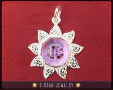 Load image into Gallery viewer, Sunflower - Sterling Silver 9 Star Bahai Pendant w/ simulated Amethyst (Color Changing Stone) - BPS12A