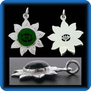 Sunflower - Sterling Silver 9 Star Bahai Pendant w/ simulated Emerald - BPS12E