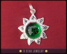 Load image into Gallery viewer, Sunflower - Sterling Silver 9 Star Bahai Pendant w/ simulated Emerald - BPS12E