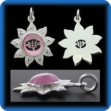 Load image into Gallery viewer, Sunflower - Sterling Silver 9 Star Bahai Pendant w/ simulated Pink Sapphire - BPS12P