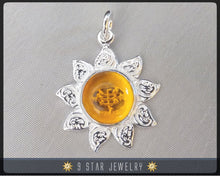 Load image into Gallery viewer, Sunflower - Sterling Silver 9 Star Bahai Pendant w/ simulated Citrine - BPS12C
