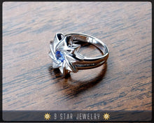 Load image into Gallery viewer, Sapphire - Sterling Silver 9 Star Baha'i Ring with genuine gemstone - (Limited Edition-Last Piece size 4.25) - BRS6S