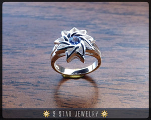 Sapphire - Sterling Silver 9 Star Baha'i Ring with genuine gemstone - (Limited Edition-Last Piece size 4.25) - BRS6S
