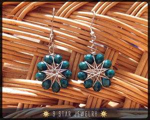 Radiant Star - Baha'i 9 Pointed Star Crystal Wire-wrapped Dangle Earrings -Pine Green- BRSE16