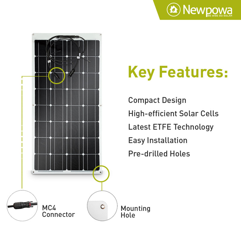 newpowa 100w semi flexible solar panel smaller compact 100w semi flex 100w flexible solar panel