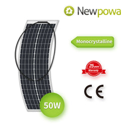 NewPowa 50W 12V Mono Semi-flexible High Efficiency Solar Panel - newpowa