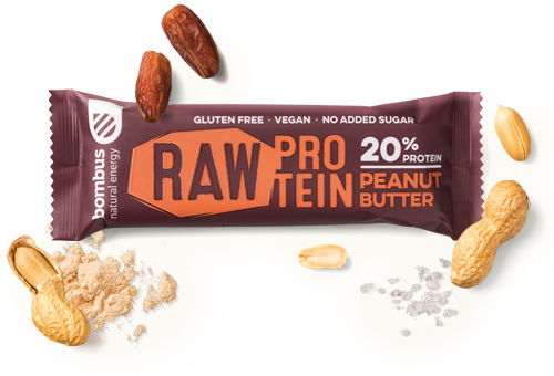 BOMBUS RAW PROTEIN peanut butter bar 50g Pack of 20pcs