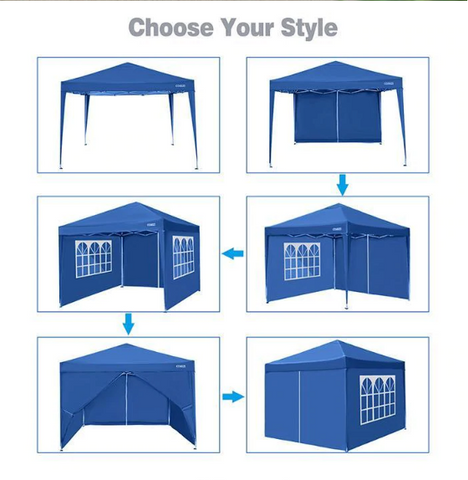 "118"" Screened Gazebo Three Height Adjustable Instant Pop Up Outdoor Tent"